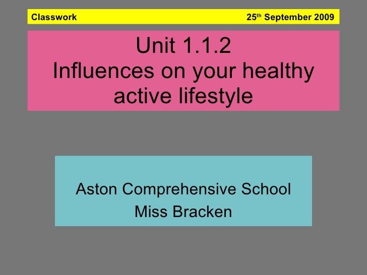 Unit 1.1.2 Influences on your healthy active lifestyle Aston Comprehensive School Miss Bracken Classwork  25 th  September...