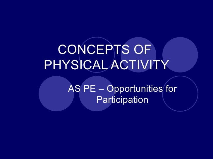 CONCEPTS OF  PHYSICAL ACTIVITY AS PE – Opportunities for Participation