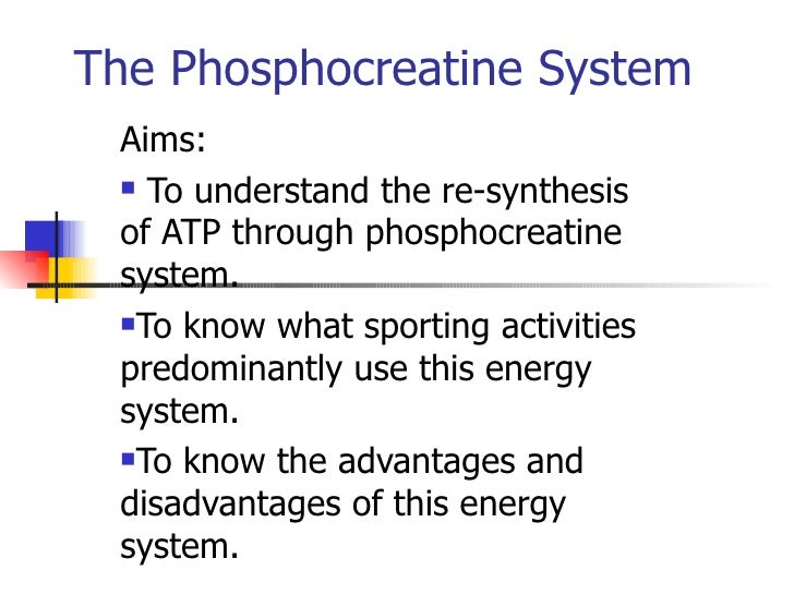 phosphocreatine resynthesis during recovery The nutritional biochemistry of creatine during repeated bouts of maximal exercise and rates of phosphocreatine resynthesis during recovery from maximal.