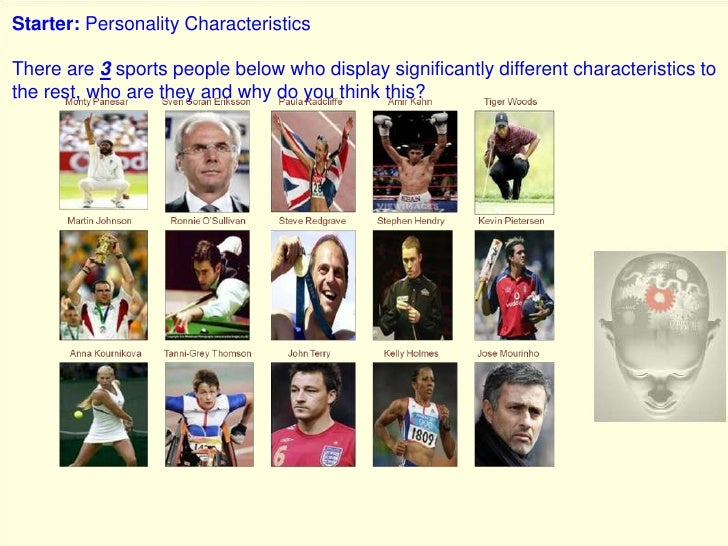 Starter: Personality Characteristics<br />There are 3 sports people below who display significantly different characterist...