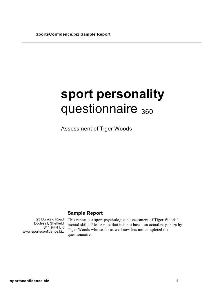 SportsConfidence.biz Sample Report                                  sport personality                              questio...