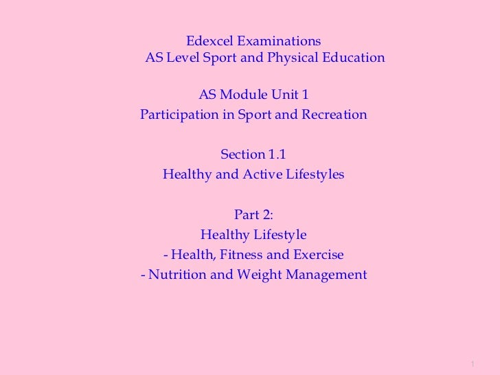 Edexcel ExaminationsAS Level Sport and Physical Education          AS Module Unit 1Participation in Sport and Recreation  ...