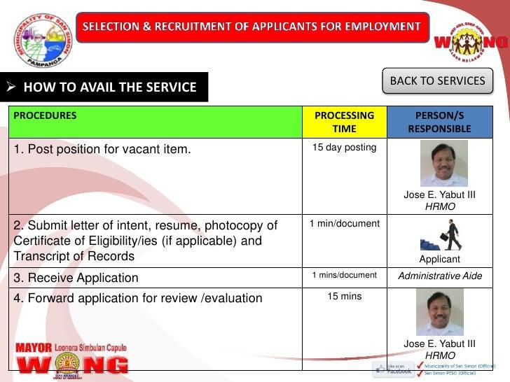 sample application letter for hrmo