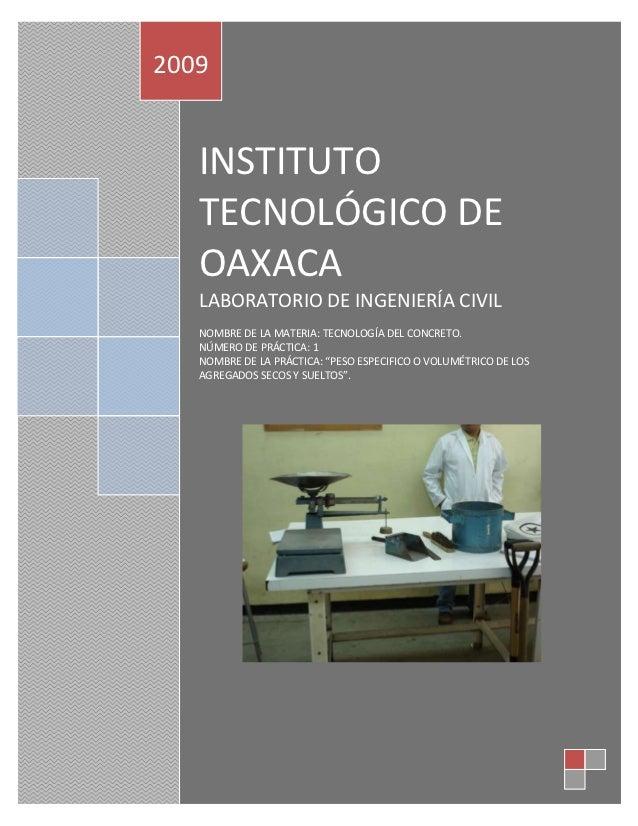 2009   INSTITUTO   TECNOLÓGICO DE   OAXACA   LABORATORIO DE INGENIERÍA CIVIL   NOMBRE DE LA MATERIA: TECNOLOGÍA DEL CONCRE...