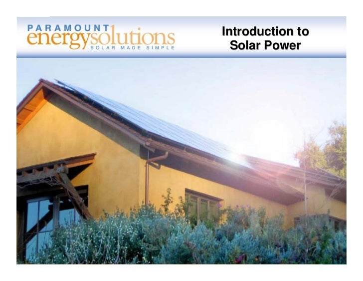 Introduction to  Solar Power