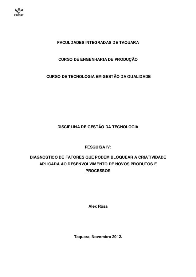 FACULDADES INTEGRADAS DE TAQUARA           CURSO DE ENGENHARIA DE PRODUÇÃO      CURSO DE TECNOLOGIA EM GESTÃO DA QUALIDADE...