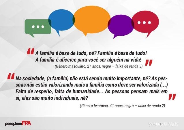 A família é base de tudo, né? Família é base de tudo! A família é alicerce para você ser alguém na vida! Na sociedade, (a ...