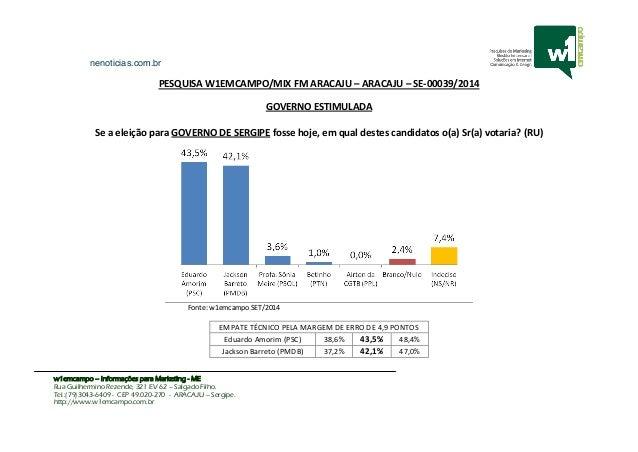 PESQUISA W1EMCAMPO/MIX FM ARACAJU – ARACAJU – SE-00039/2014  w1emcampo – Informações para Marketing - ME  Rua Guilhermino ...