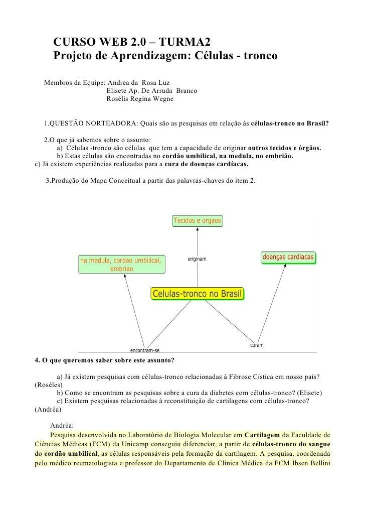 CURSO WEB 2.0 – TURMA2      Projeto de Aprendizagem: Células - tronco   Membros da Equipe: Andrea da Rosa Luz             ...