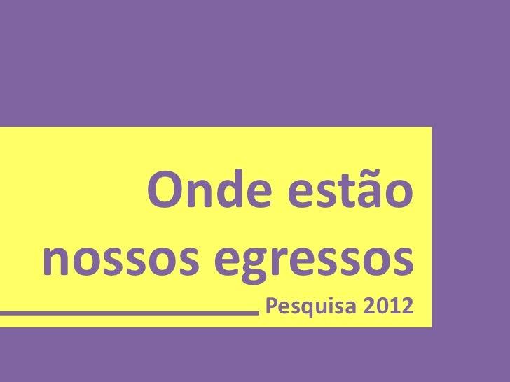 Onde estãonossos egressos        Pesquisa 2012