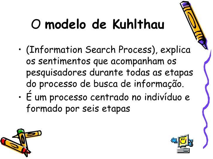 O  modelo de Kuhlthau <ul><li>(Information Search Process), explica os sentimentos que acompanham os pesquisadores durante...