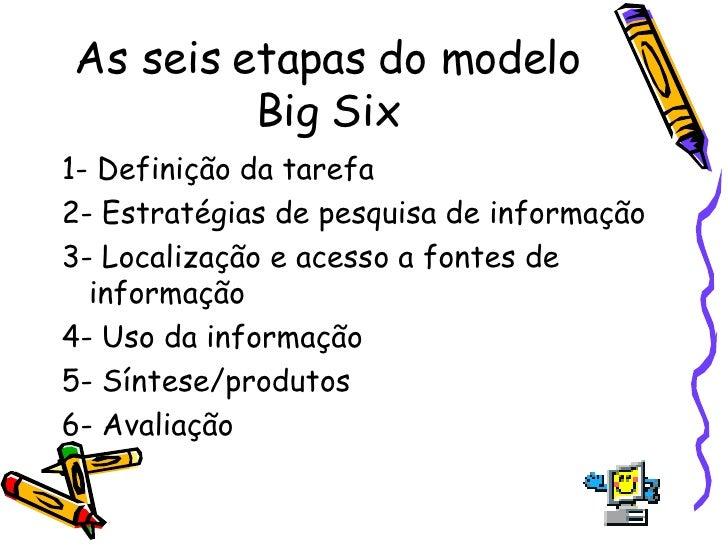 As seis etapas do modelo Big Six <ul><li>1- Definição da tarefa  </li></ul><ul><li>2- Estratégias de pesquisa de informaçã...