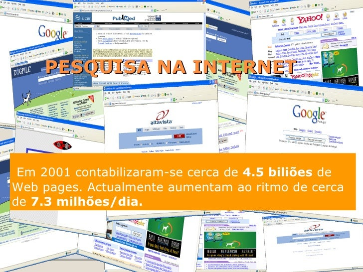 PESQUISA NA INTERNET Em 2001 contabilizaram-se cerca de  4.5 biliões  de Web pages. Actualmente aumentam ao ritmo de cerca...