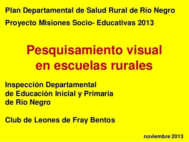 Plan Departamental de Salud Rural de Río Negro Proyecto Misiones Socio- Educativas 2013  Pesquisamiento visual en escuelas...