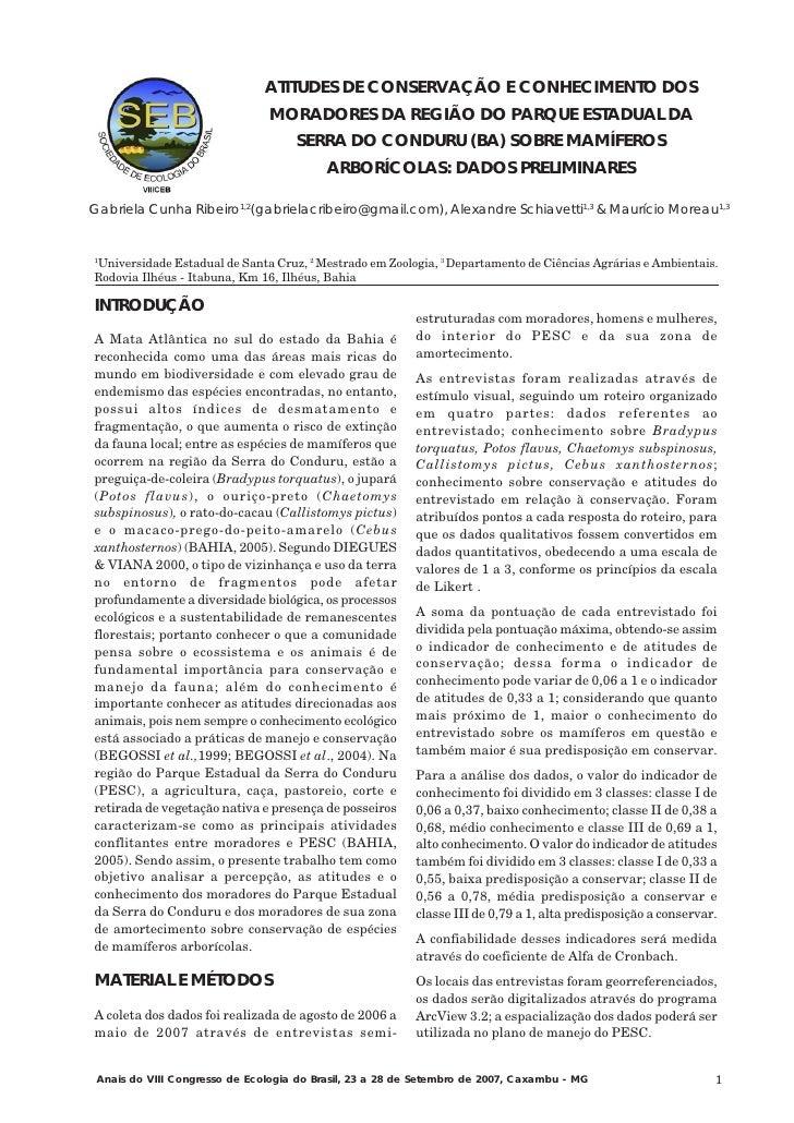 ATITUDES DE CONSERVAÇÃO E CONHECIMENTO DOS                               MORADORES DA REGIÃO DO PARQUE ESTADUAL DA        ...