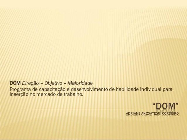 DOM Direção – Objetivo – Maioridade Programa de capacitação e desenvolvimento de habilidade individual para inserção no me...