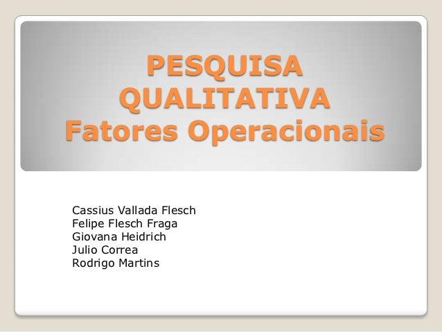 PESQUISA   QUALITATIVAFatores OperacionaisCassius Vallada FleschFelipe Flesch FragaGiovana HeidrichJulio CorreaRodrigo Mar...