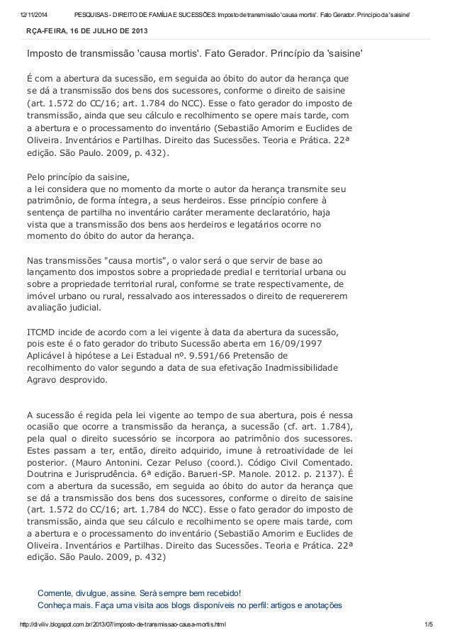 12/11/2014 PESQUISAS - DIREITO DE FAMÍLIA E SUCESSÕES: Imposto de transmissão 'causa mortis'. Fato Gerador. Princípio da '...