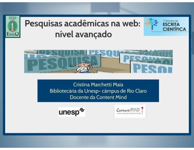 Pesquisas acadêmicas web: nível avançado