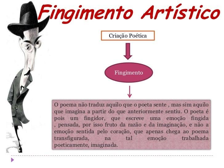 Fingimento Artístico                      Criação Poética                        Fingimento O poema não traduz aquilo que ...