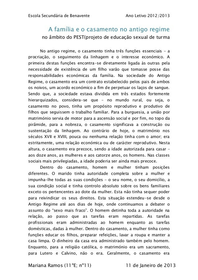 Escola Secundária de Benavente                       Ano Letivo 2012/2013           A família e o casamento no antigo regi...