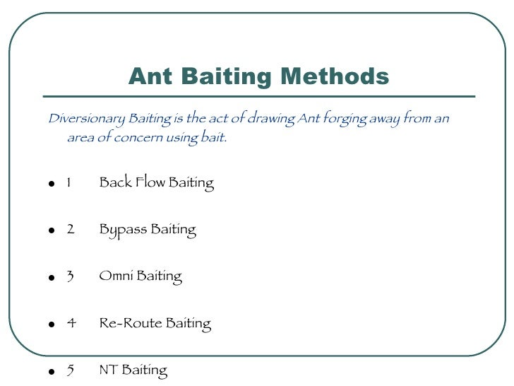 Ant Baiting Methods <ul><li>Diversionary Baiting is the act of drawing Ant forging away from an area of concern using bait...