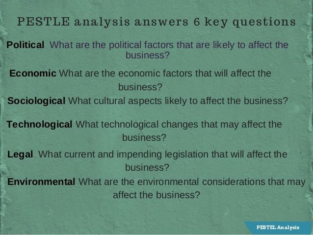 PESTLE analysis answers 6 key questions PoliticalWhatarethepoliticalfactorsthatarelikelytoaffectthe business? ...