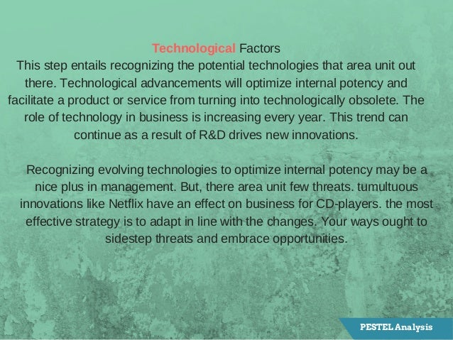 TechnologicalFactors Thisstepentailsrecognizingthepotentialtechnologiesthatareaunitout there.Technologicaladv...