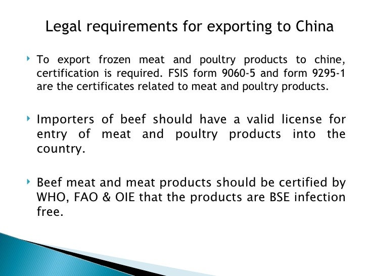 Pestel report on china for Beef products