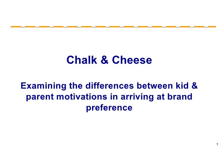 Chalk & Cheese Examining the differences between kid & parent motivations in arriving at brand preference