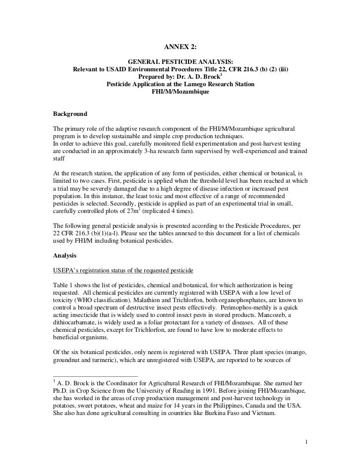 ANNEX 2:                           GENERAL PESTICIDE ANALYSIS:       Relevant to USAID Environmental Procedures Title 22, ...