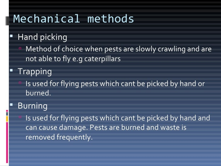 Biological methods This method is applicable for removal of animal  pests. It depend on the following considerations:   ...