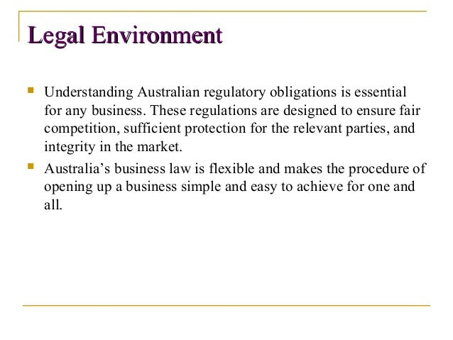 legal environment in australia