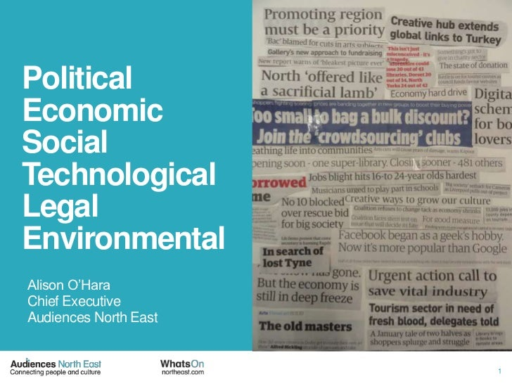 PoliticalEconomicSocialTechnologicalLegalEnvironmental<br />Alison O'Hara<br />Chief Executive<br />Audiences North East <...