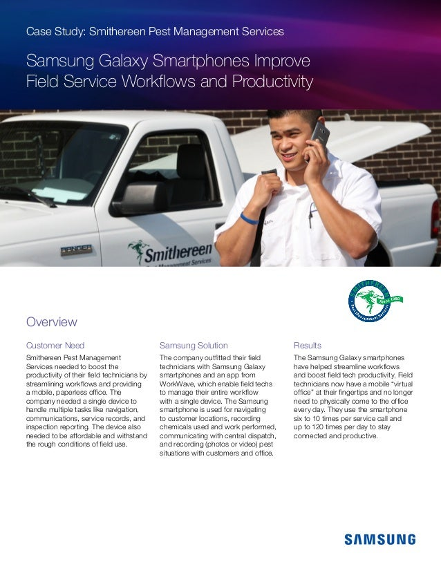 Charming Case Study: Smithereen Pest Management Services Samsung Galaxy Smartphones  Improve Field Service Workflows And Productivit ...