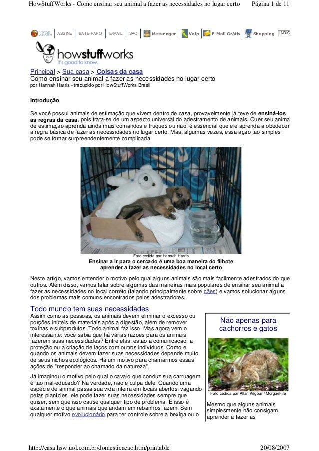 HowStuffWorks - Como ensinar seu animal a fazer as necessidades no lugar certo                       Página 1 de 11       ...
