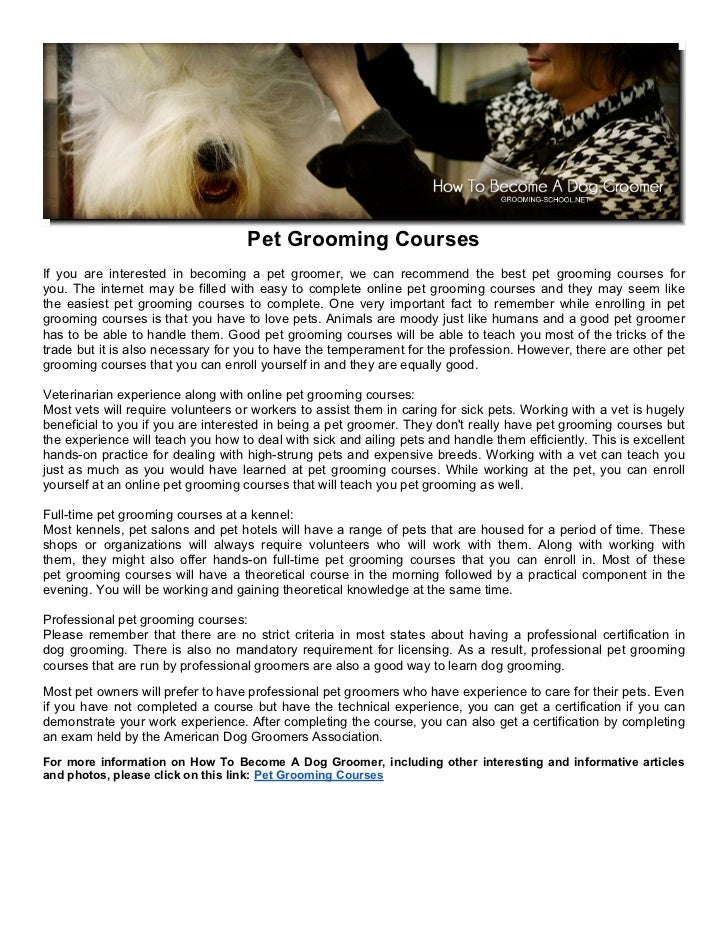 Pet Grooming Courses