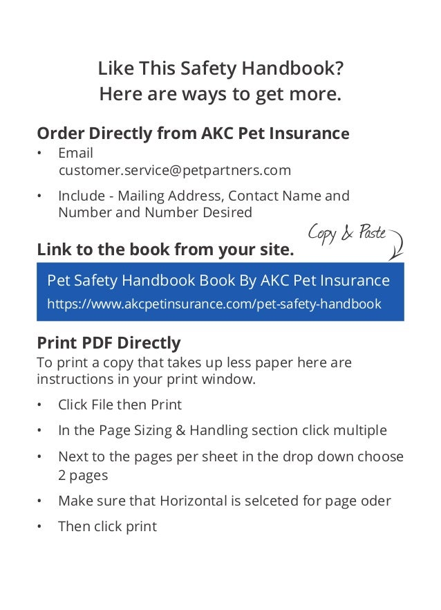 Pet Safety Handbook by AKC Pet Insurance