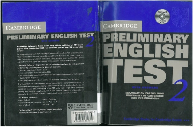 Test students preliminary with english answers cambridge extra book