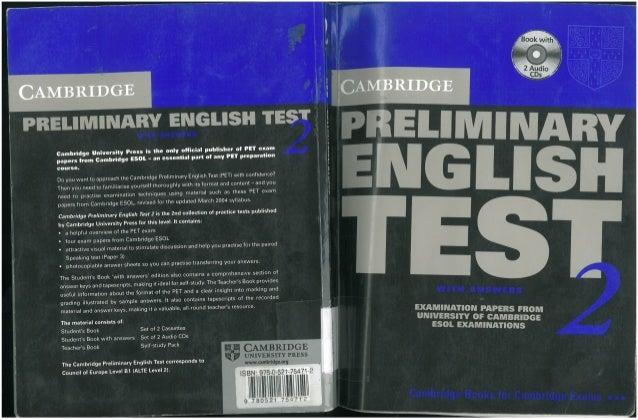 Cambridge Pet 2 Preliminary English Test