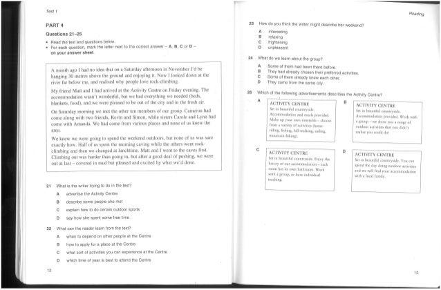 Cambridge Pet 2 (Preliminary English Test)