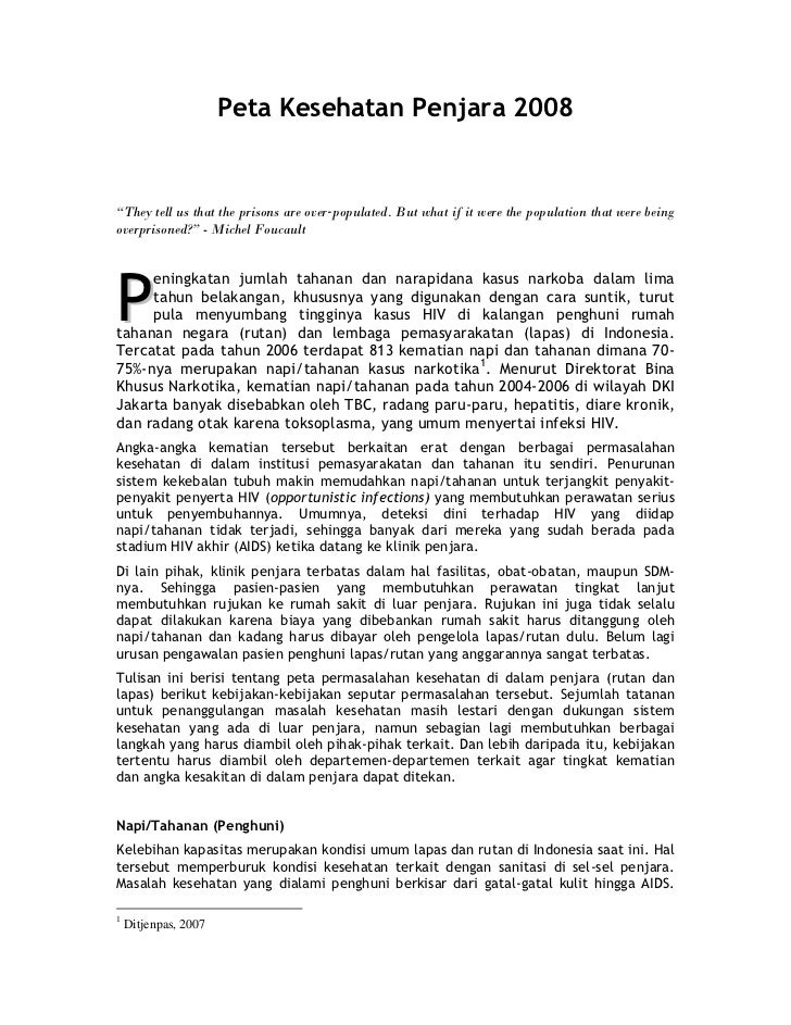 """Peta Kesehatan Penjara 2008   """"They tell us that the prisons are over‐populated. But what if it were the population that w..."""