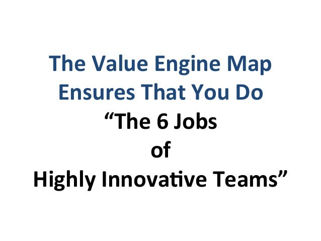 """The  Value  Engine  Map   Ensures  That  You  Do   """"The  6  Jobs   of   Highly  InnovaEve  Tea..."""