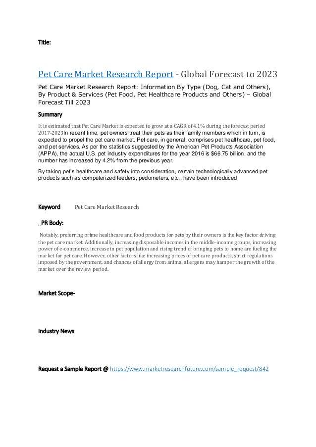 Pet care market reserch report