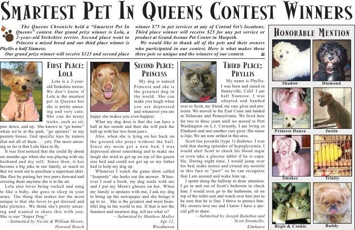 """SMARTEST PET IN QUEENS CONTEST WINNERS            The Queens Chronicle held a """"Smartest Pet In                       winne..."""