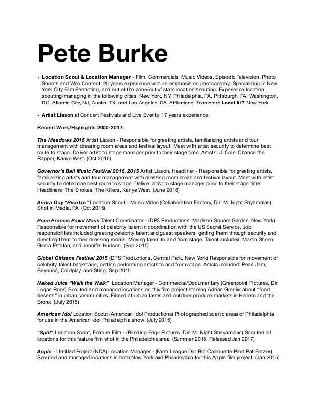 Pete Burke Resume 1 2017