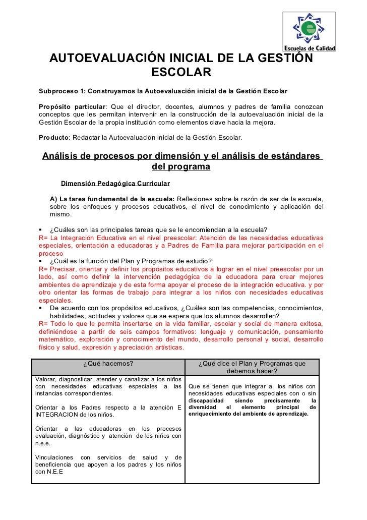 AUTOEVALUACIÓN INICIAL DE LA GESTIÓN                 ESCOLAR Subproceso 1: Construyamos la Autoevaluación inicial de la Ge...