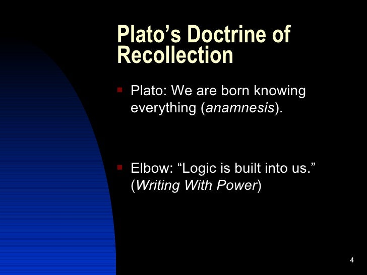 theory of recollection phaedo The second argument, known as the theory of recollection, asserts that learning  is essentially an act of recollecting things we knew before we were born but.