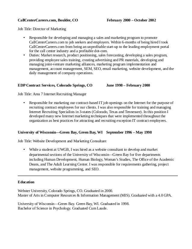 peter geisheker digital marketing manager resume