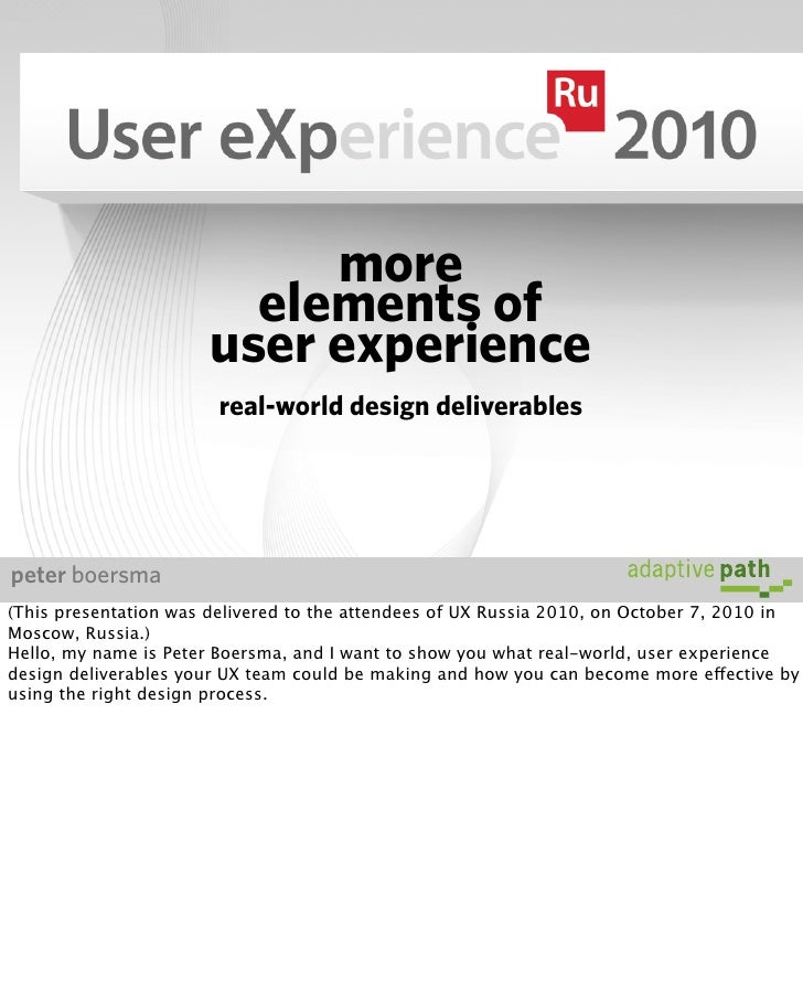 more                          elements of                        user experience                         real-world design...